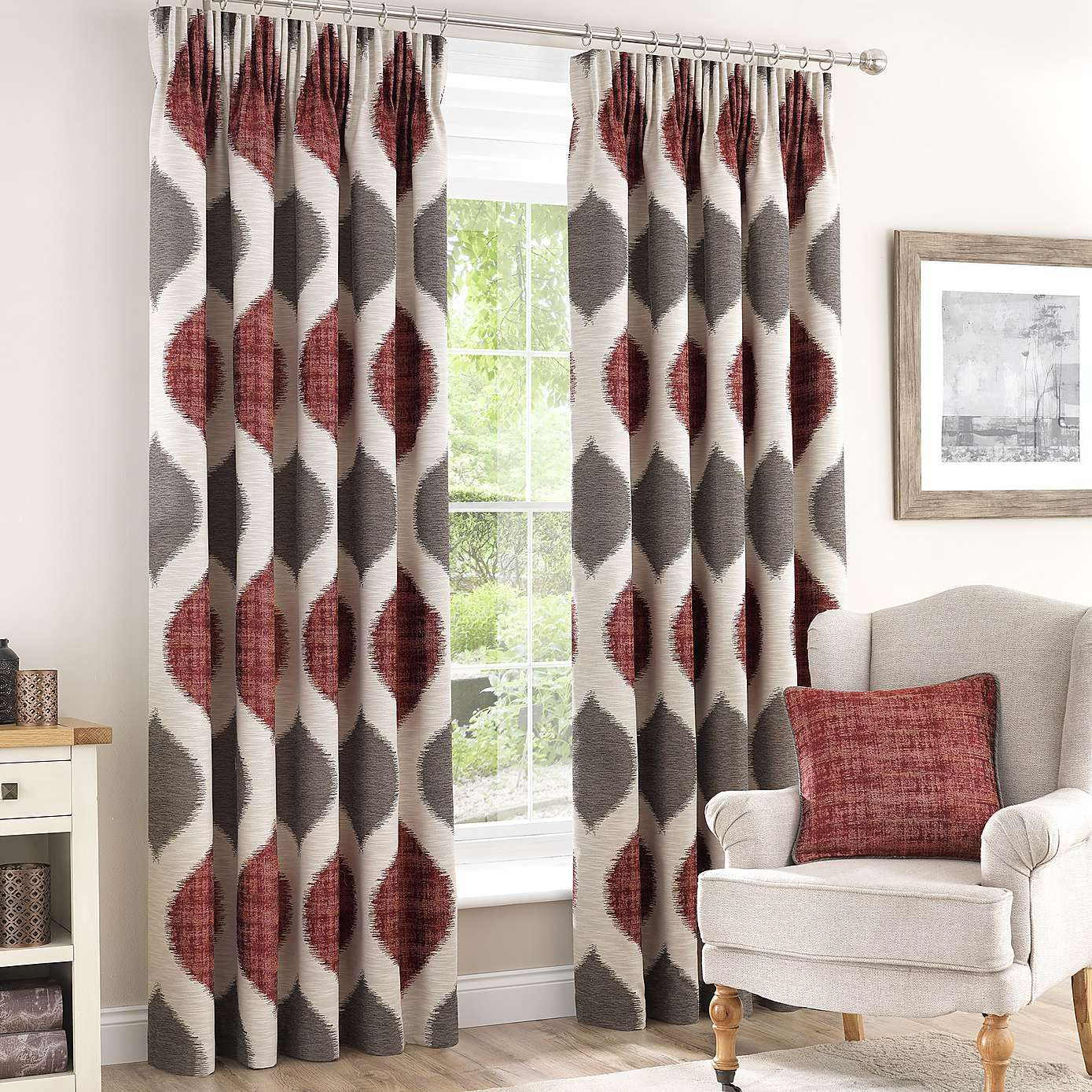 Red And Grey Curtains Dunelm: Morocco Red Pencil Pleat Curtains