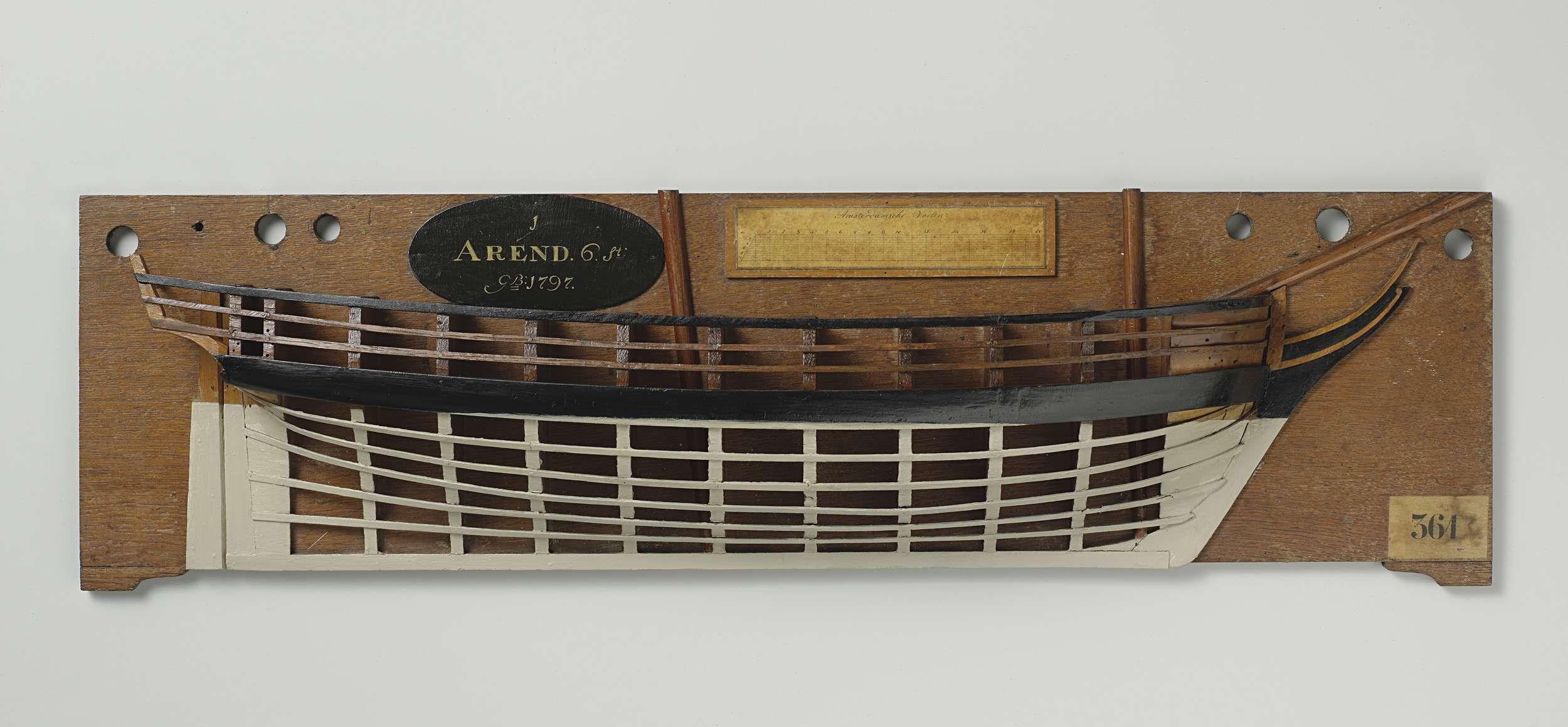 Anonymous   Halfmodel van de brik Arend van 6 stukken, Anonymous, c. 1797 - c. 1798   Mallenmodel (stuurboord) van een tweemaster. Gewrongen spiegel, hol wulf, geen details van hek of zijgalerij; recht roer met vierkante roerkoning. Zeeg naar voor en achter iets oplopend, één barkhout; het reehout is waarschijnlijk van een oude restauratie. Iets gepiekt rondspant. Schaal ca. 1:40 (schaal op model).