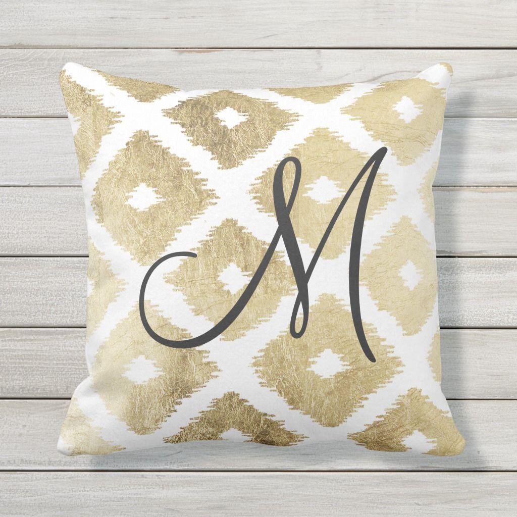 Elegant Faux Gold Modern Ikat Pattern Monogrammed Throw Pillow