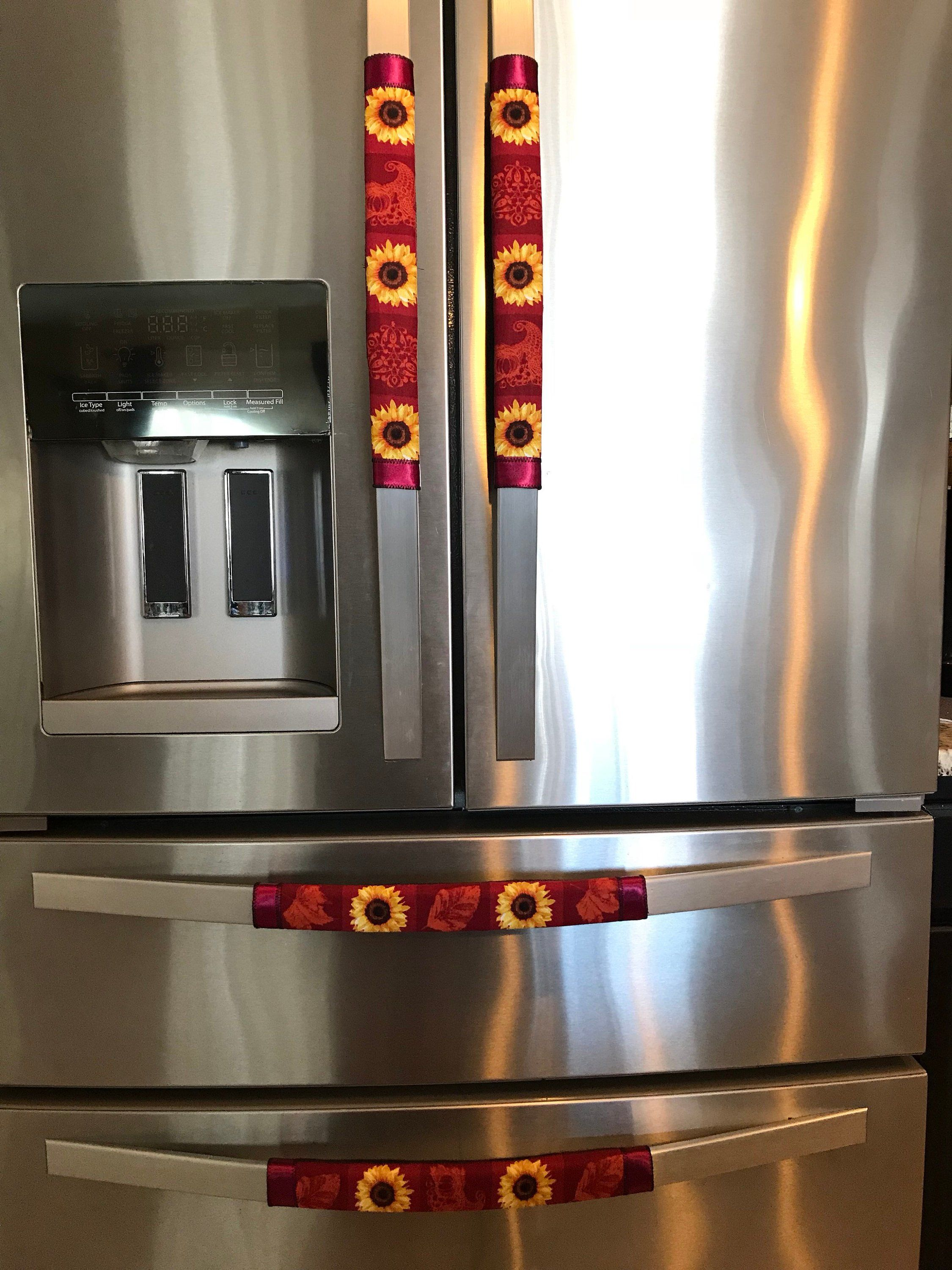 Refrigerator Door Handle Covers Set Of Four Sunflowers Red Theme