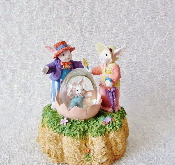 Rabbit Music Box Snow Globe By Lefton Vintage By
