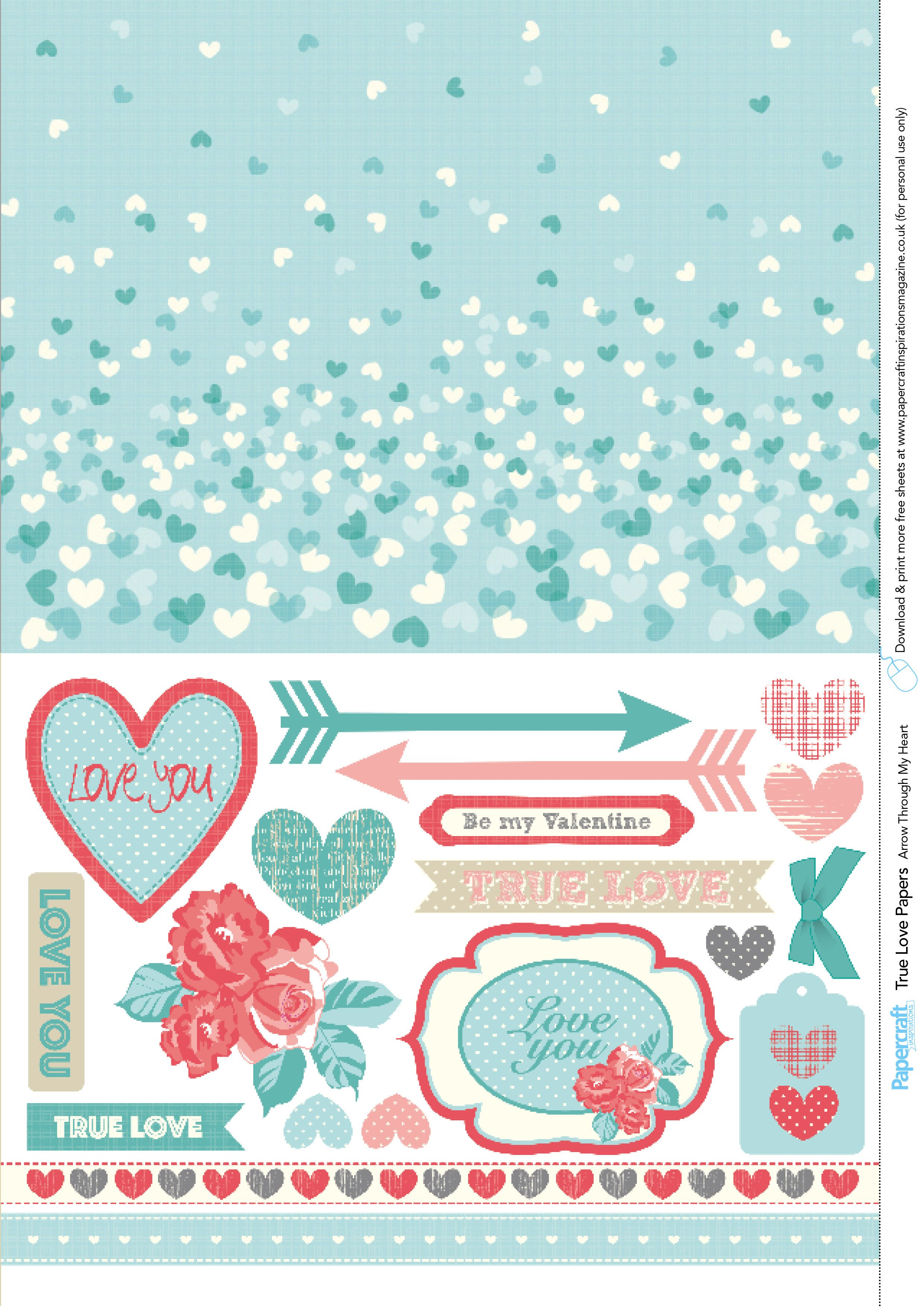 Get crafty with these romantic free printable papers and sentiments from Papercraft Inspirations magazine.