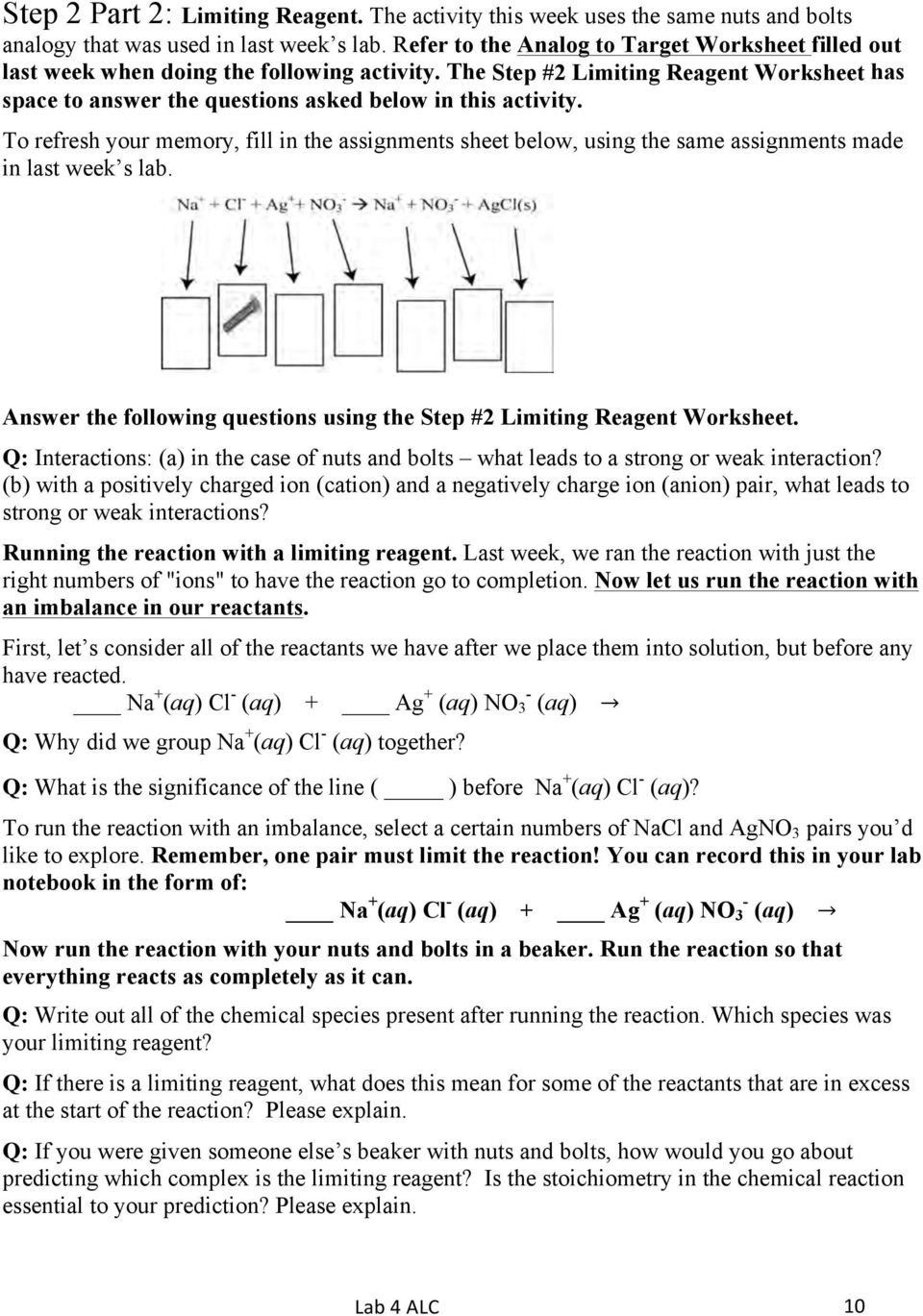 Limiting Reactant Worksheet Answers Limiting Reagent Using An Analogy And A Learning Cycle Worksheets Answers Printable Worksheets