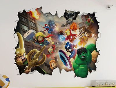 Marvel Lego D Look Wall Vinyl Sticker Avengers Childrens - Lego superhero wall decals
