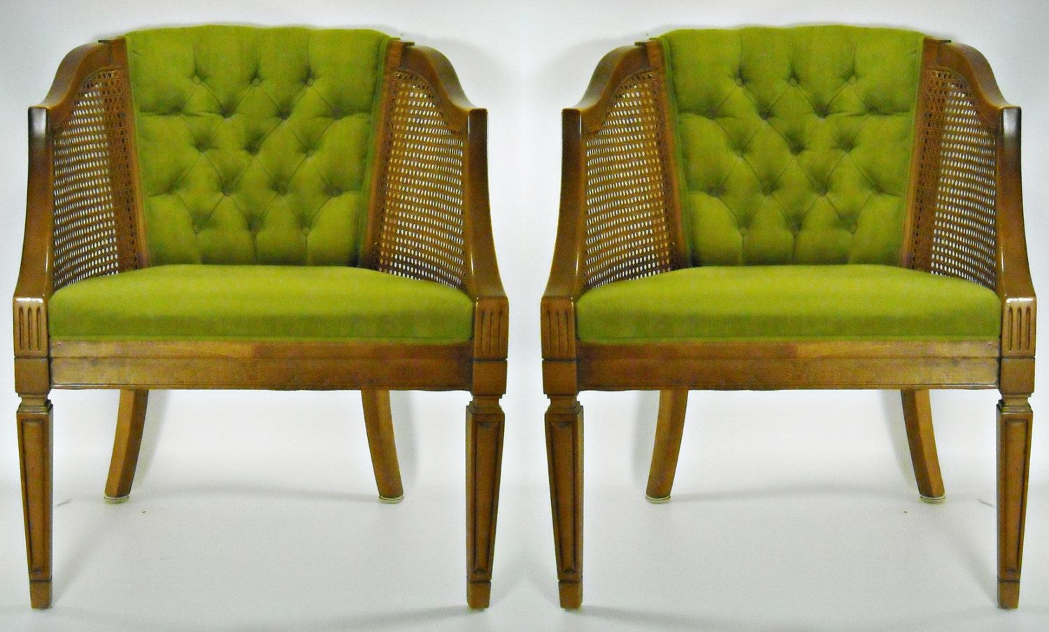 Mid Century Cane Barrel Chair Cloth Padded Folding Chairs Pair Back Tufted Hollywood Regency Apple Green