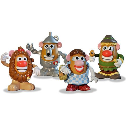 "The Wizard of Oz Mr. and Mrs. Potato Head Special Collectors set includes Dorothy and all her friends; The Scarecrow, Tin Man and Cowardly Lion. Even a tiny ""Tater-Toto"" is along for the fun! Each figure is about 6"" tall and extremely detailed with a variety of components to mix and match.  $64.99  http://www.calendars.com/Classic-Movies/Wizard-of-Oz-Mr.-Potato-Head-Set/prod201200011702/?categoryId=cat00062=cat00062#"