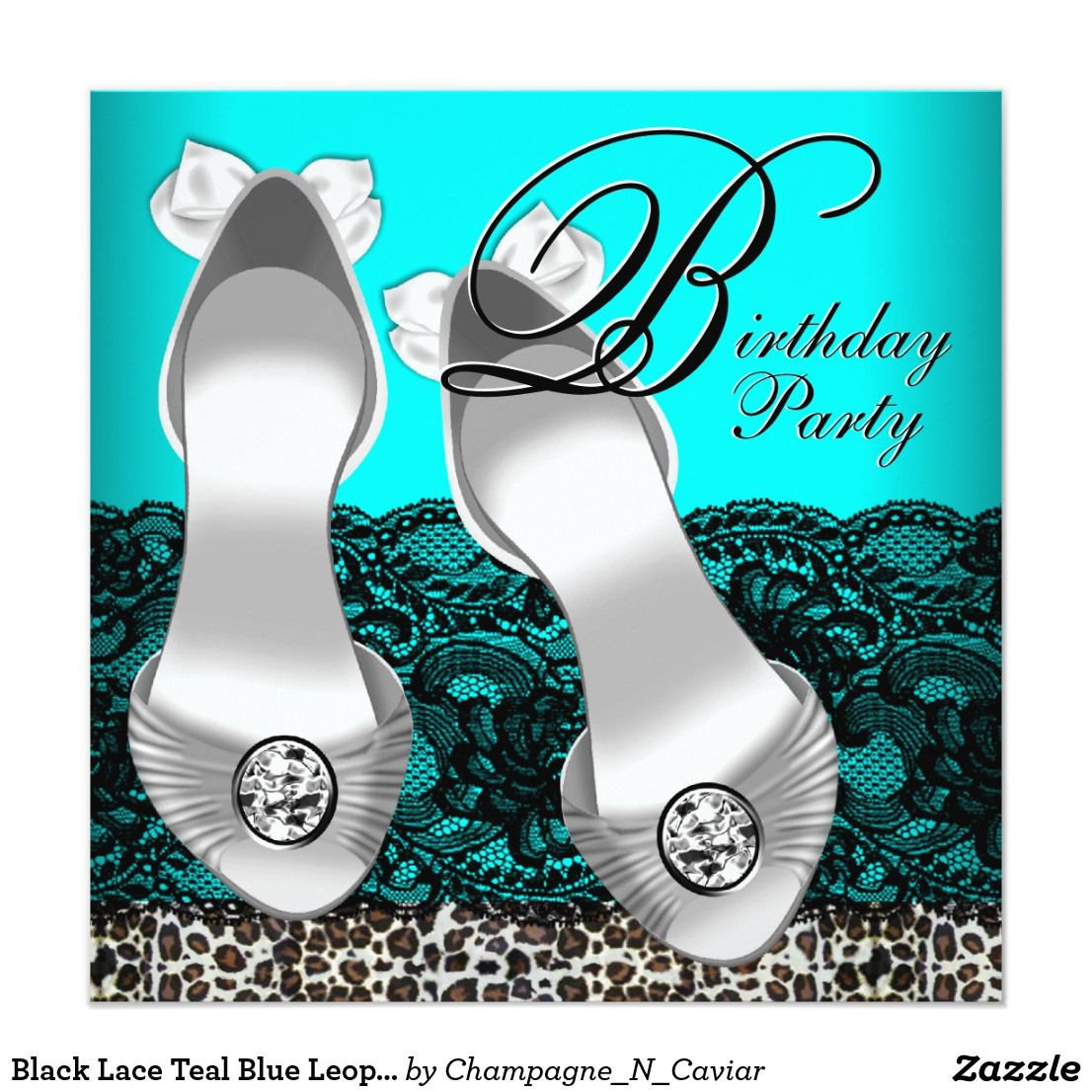 Black Lace Teal Blue Leopard Birthday Party Card | Leopard birthday ...