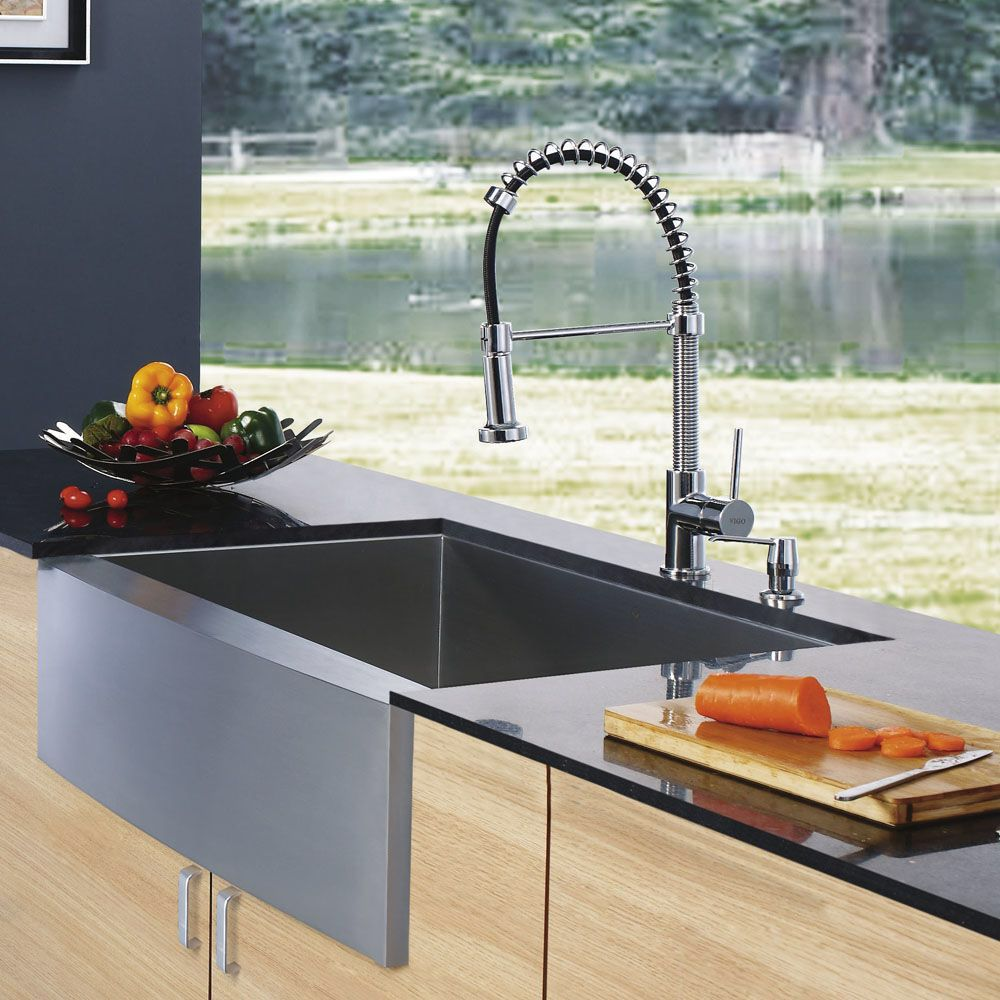 """33"""" x 22.25"""" x 10"""" Farmhouse Single Bowl Kitchen Sink with Faucet and Soap Dispenser"""