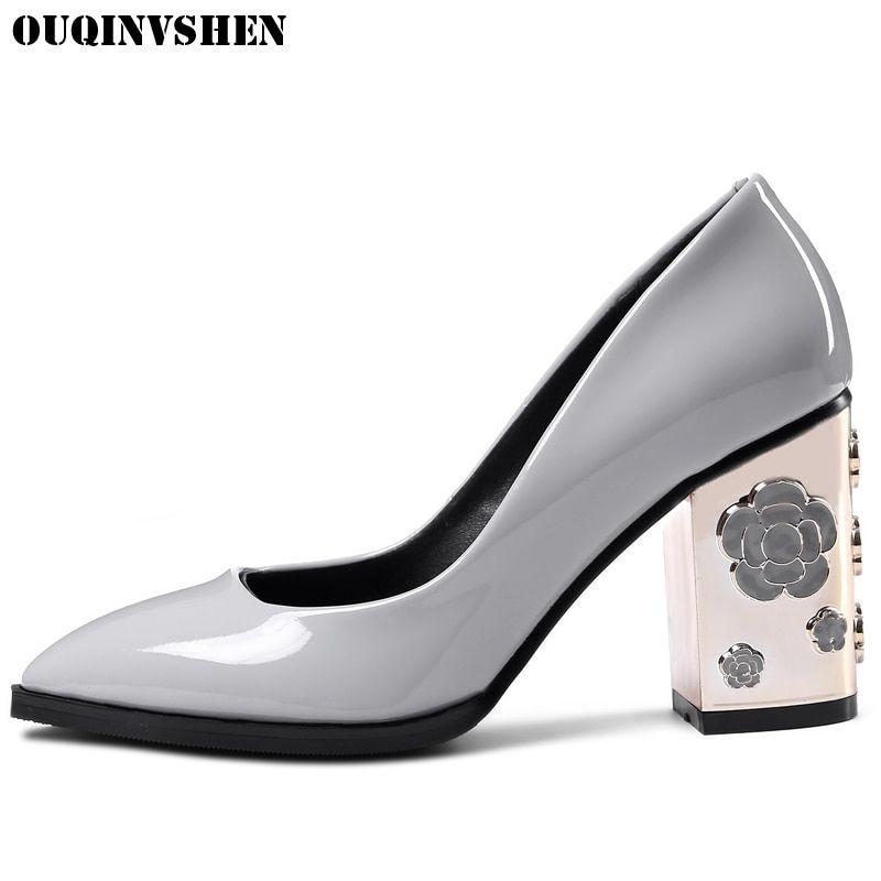 9ff5b11252 OUQINVSHEN Plum Blossom Appliques Women Pumps High Heels Casual ...