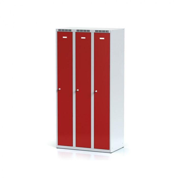 3-piece metal wardrobe, red door, cylindrical lock …