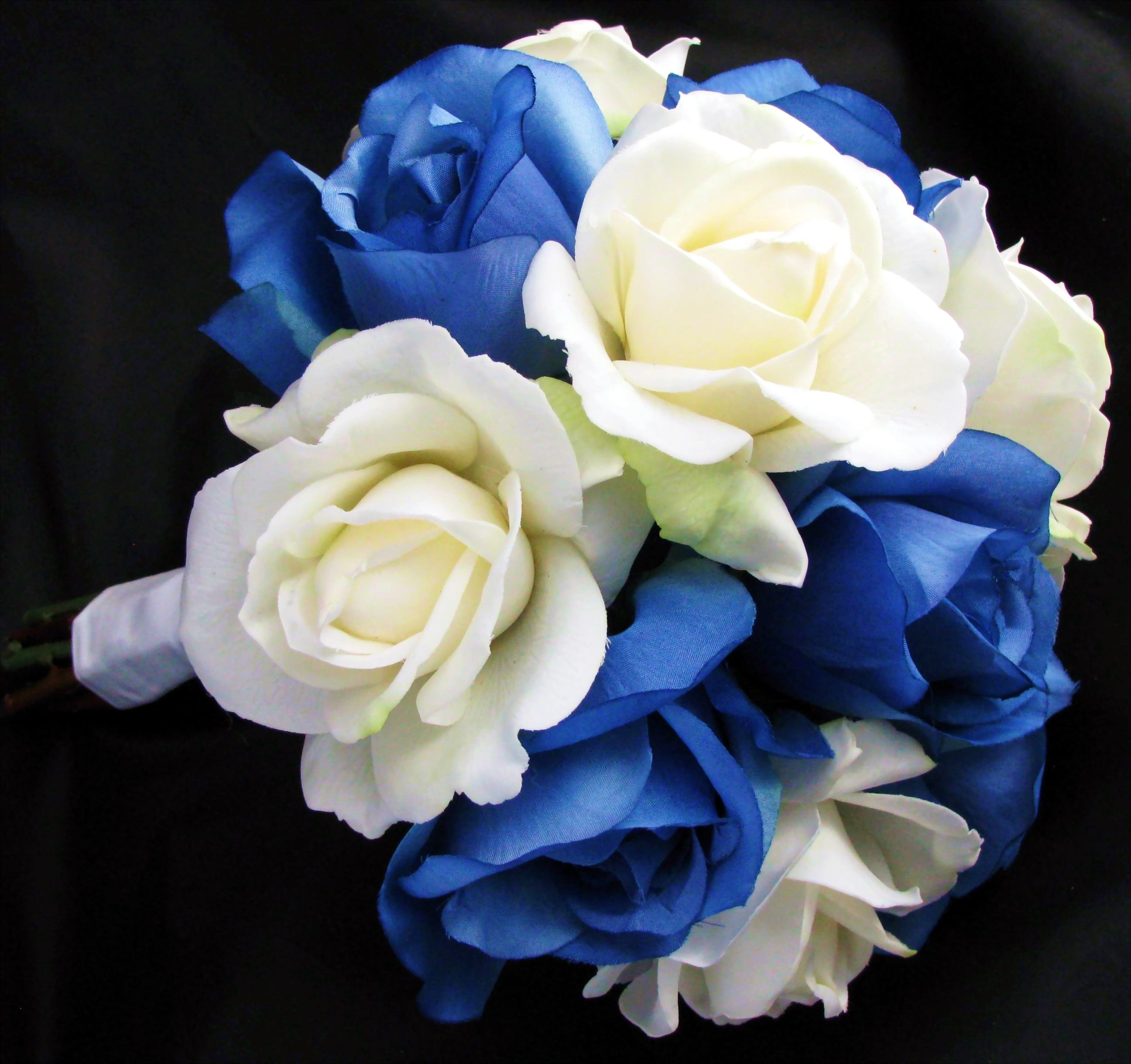 Natural touch silk bouquet blue cream white rose leora for White and blue flower bouquet