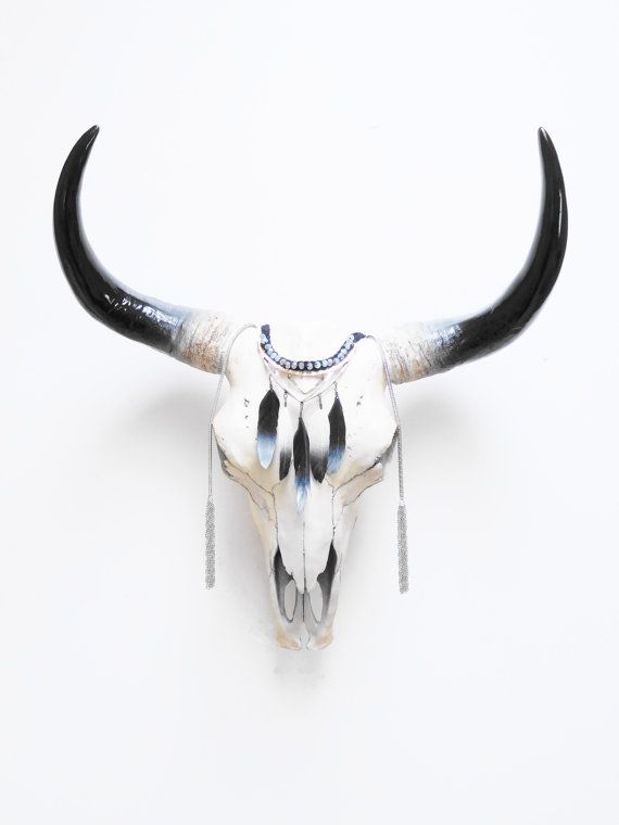 cr ne cr ne de vache animal skull cr ne de vache buffalo skull taxidermie cr nes peint. Black Bedroom Furniture Sets. Home Design Ideas