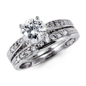 Cheap CZ Engagement Rings Wedding Band Set