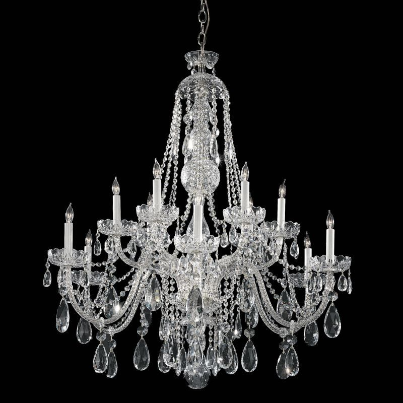 Crystorama Lighting Group 1112-CL-S Traditional Crystal 12 Light Clear Swarovski Polished Chrome Indoor Lighting Chandeliers