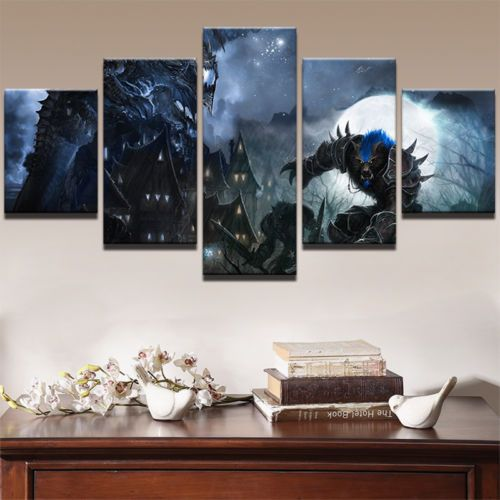 5pcs World Of Warcraft Game HD Painting Printed Canvas Wall Art Home ...