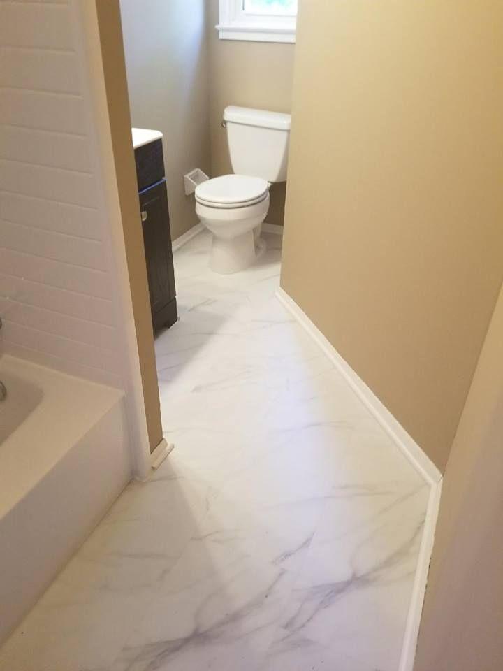 We Love How Our Adura Max Legacy Looks In This Virginia Bathroom Thanks For Sharing Custom Floor Retro Bathrooms Mannington Flooring Bathroom Style