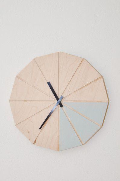Segment Clock - Blue - handmade in New Zealand