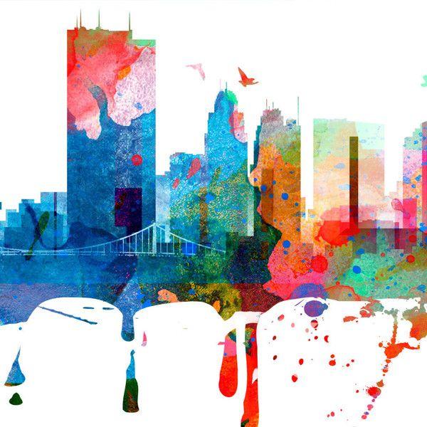 Toledo Ohio Skyline Watercolor Toledo Map Toledo Art Toledo Print... (720 MXN) ❤ liked on Polyvore featuring home, home decor, wall art, grey, home & living, home décor, wall decals & murals, wall décor, window decals and door decals