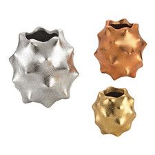 3 Piece Spiked Metallic Vase Set