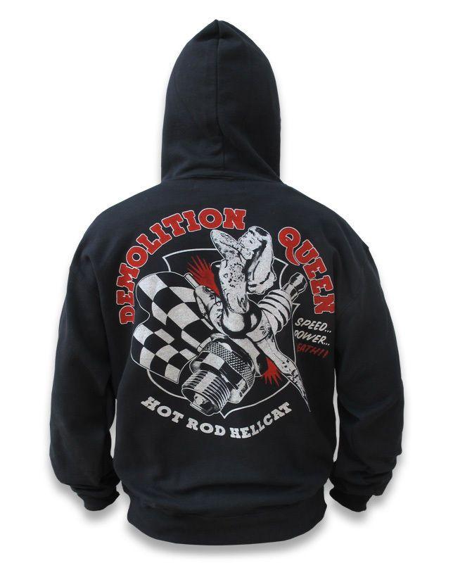 Hotrod Hellcat Herren DEMOLITION QUEEN Kapuzenpullover/Hoodie.Tattoo,Biker Style