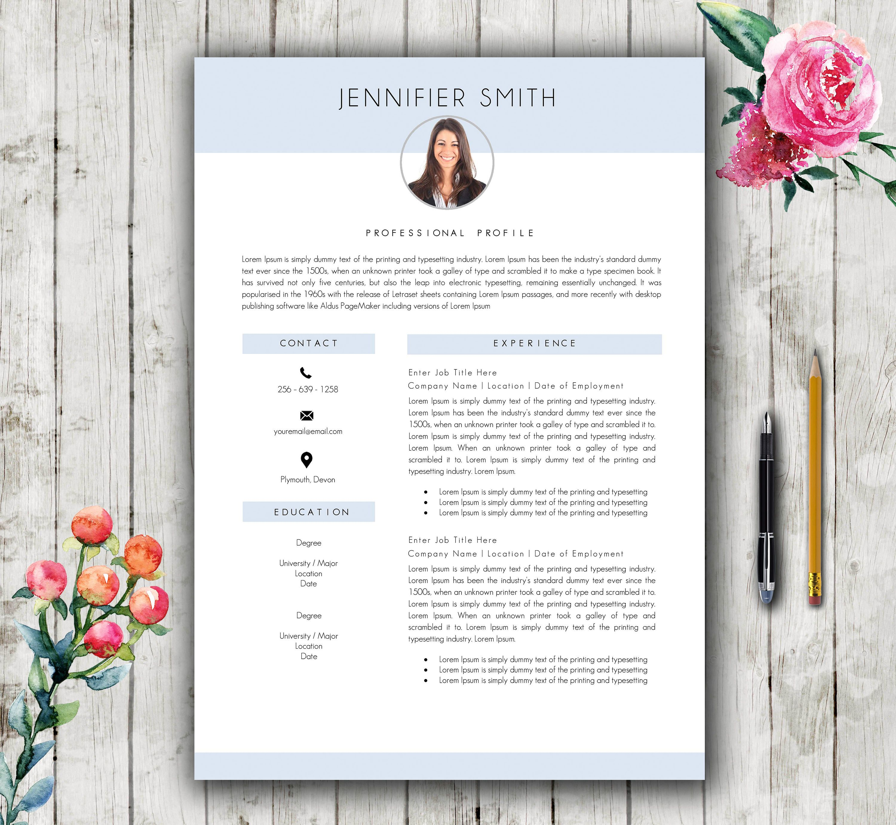 Resume Template  Pages  Modern Stylish Cv Template For Word  Cov