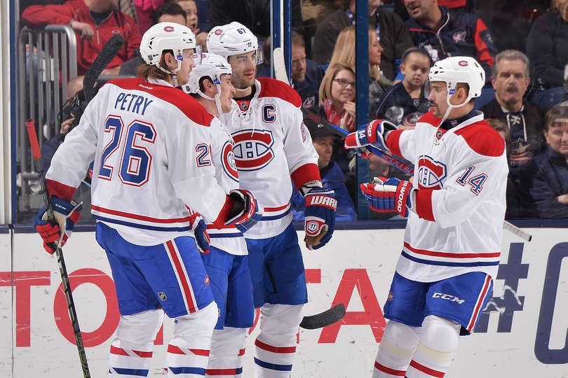 1.25.16 - Montreal Canadiens vs. Columbus Blue Jackets COLUMBUS, OH - JANUARY 25: Brendan Gallagher #11 of the Montreal Canadiens celebrates his first period goal with teammates Jeff Petry #26, Max Pacioretty #67 and Tomas Plekanec #14 of the Montreal Canadiens during a game against the Columbus Blue Jackets at Nationwide Arena in Columbus, Ohio. (Photo by Jamie Sabau/NHLI via Getty Images)