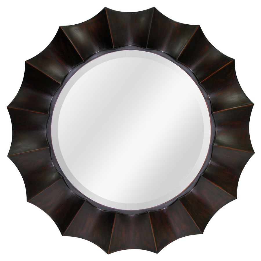Allen Roth X Oil Rubbed Bronze Beveled Round Framed French Wall Mirror