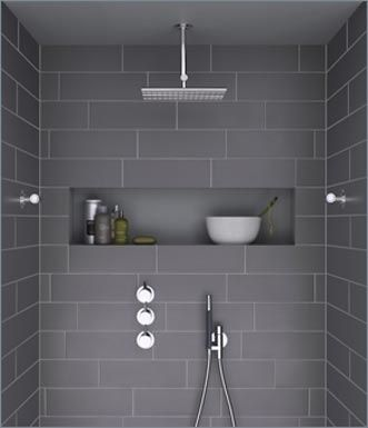 Bathroom Design Slate Grey Gray Overhead Shower Shower Nook