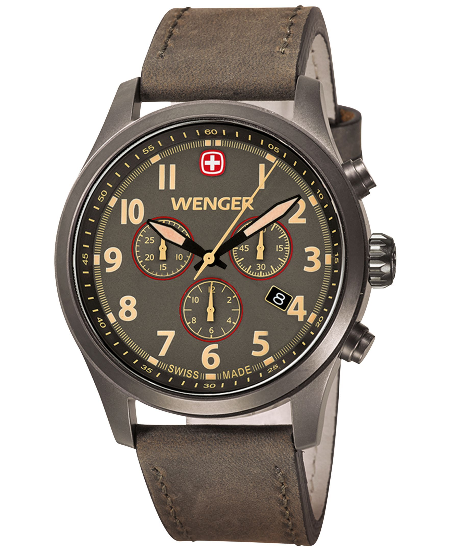 c438d1dfa09 Wenger Men s Swiss Chronograph Terragraph Olive Leather Strap Watch 43mm  0543.103