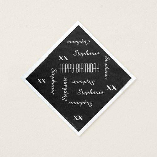 Paper Napkins Black Adult Birthday Repeating Names | Zazzle.com #papernapkins