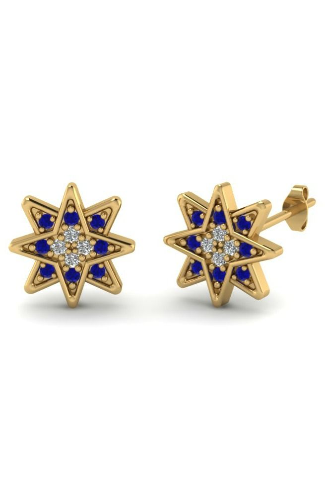Diamond and Sapphire Star Stud Earrings. If you prefer other stones or all diamonds, you can customize them!! Check out this website...very cool!