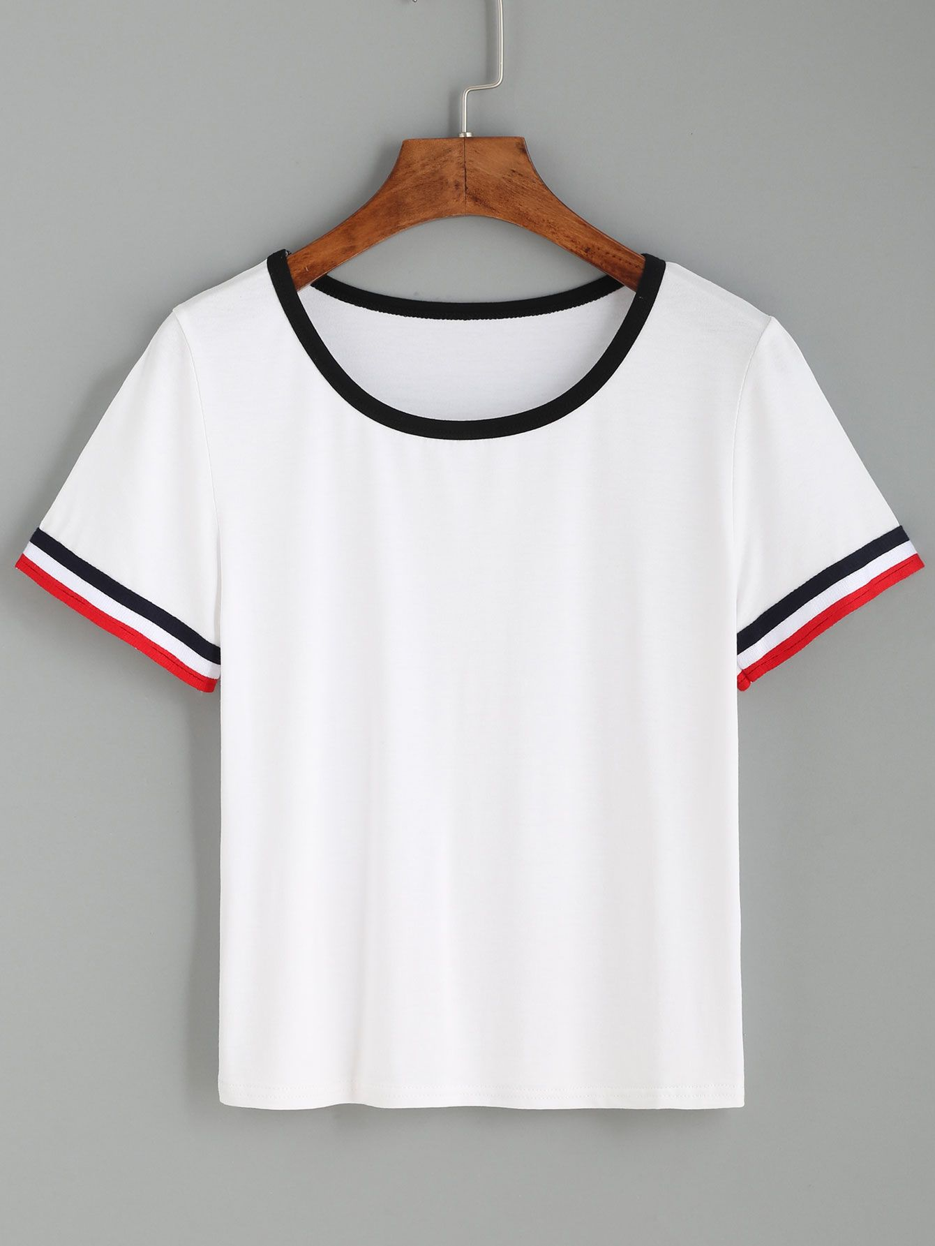 White Striped Cuff Short Sleeve T-shirt — 0.00 € ----------------color: White size: one-size