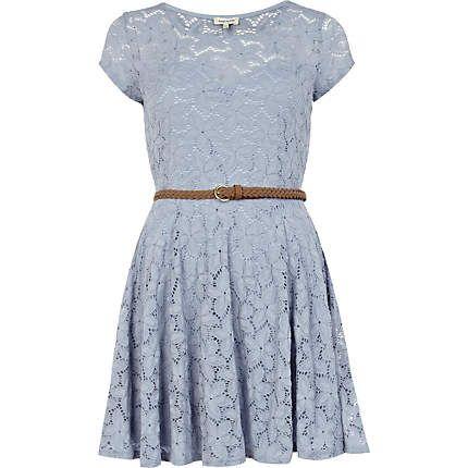 light blue lace belted skater dress