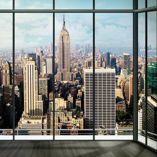 Huge 3D Window view New York City Wall Sticker Film Mural Art Decal 334