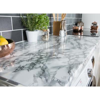 Black and White Vinyl Marble Self-adhesive Decor Kitchen