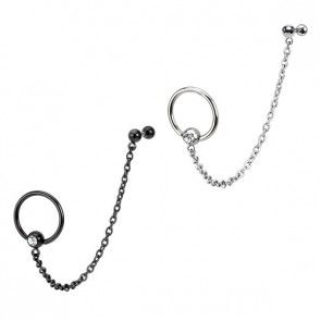 Ring og stav til tragus og helix med kæde