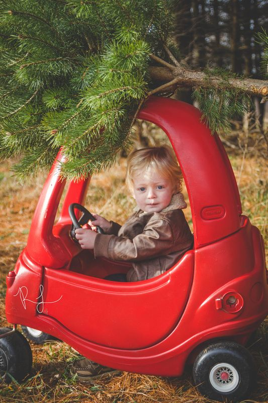 tree farm mini sessions little tikes car and a christmas tree this child has my heart familyphotography minisessions childhood toddler holidays