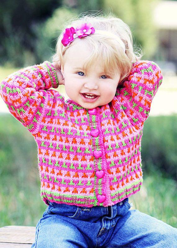 Baby Sweater Hand Knit Girls  GERANIUM STREET  by YellowHouseKnits, $70.00