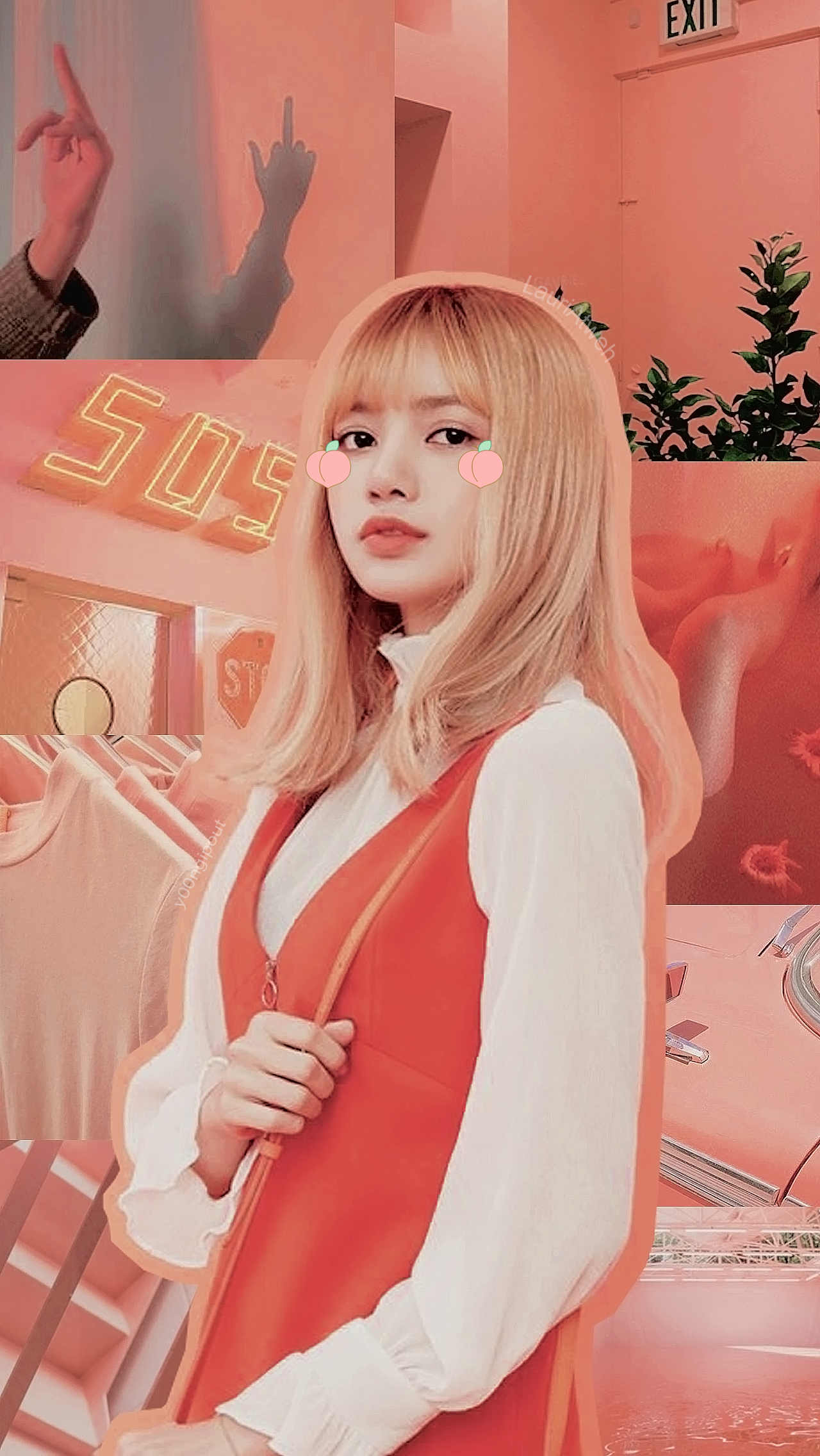Blackpink Lisa Lockscreen Peach Aesthetic Selebritas Gadis Korea Gambar Wajah