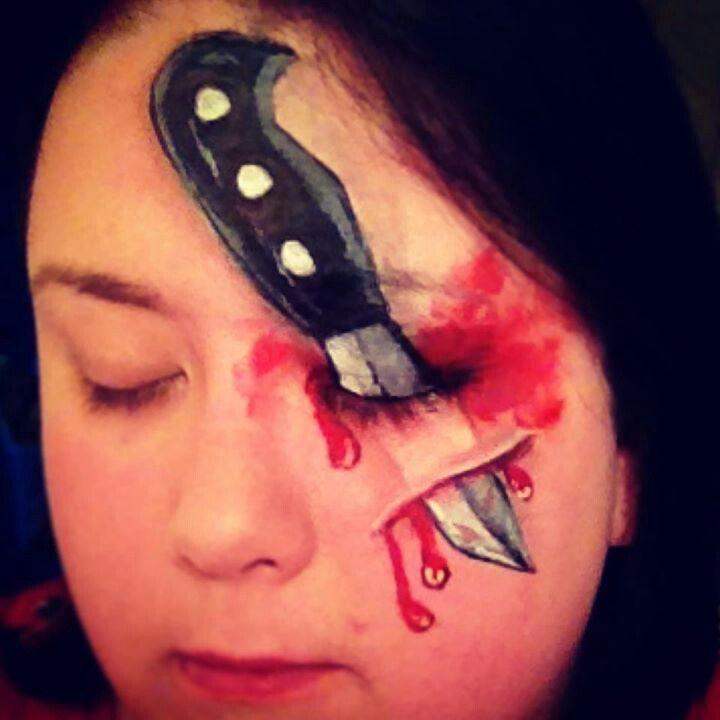 face paint halloween knife stab adult boys painting - Halloween Face Paint Ideas For Adults