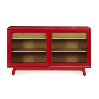 buffet de cuisine bas vitr rouge et bois mon petit nid douillet buffet mobilier de salon. Black Bedroom Furniture Sets. Home Design Ideas