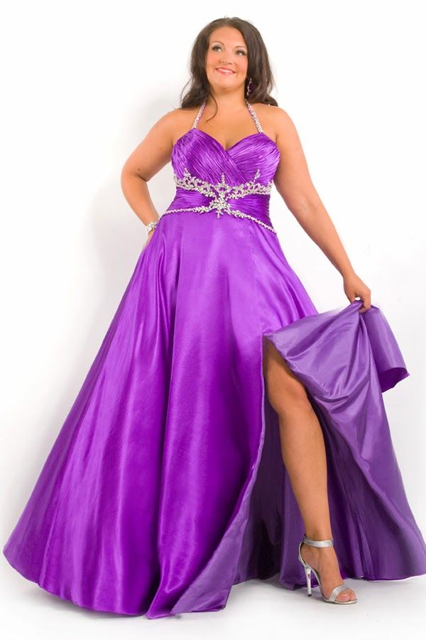 Ball Gown Floor Length Halter Plus Size Wedding Dress Purple Applique  Bandage High Slit 0ca5331f0aea
