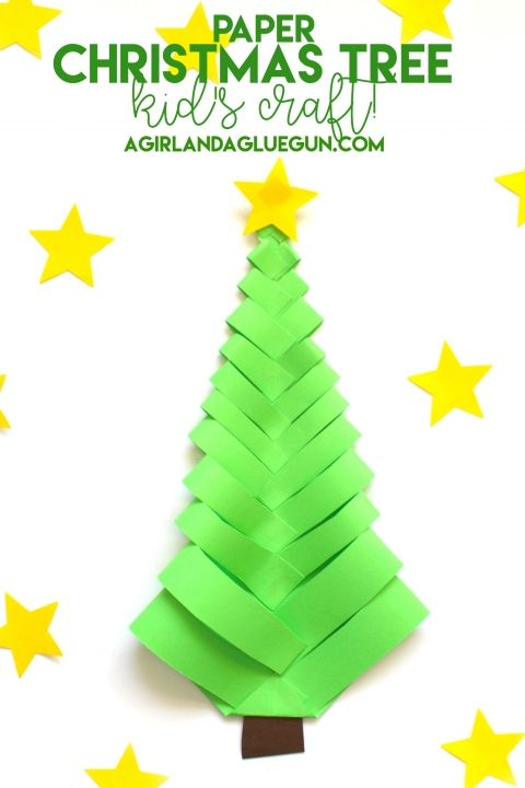 Paper Christmas TreeKid's craft is part of Kids Crafts Christmas Daughters - My daughter came home last Christmas with the cutest Paper Christmas tree! I asked her how she made it and a cute little youtube video was born! You just need a square piece of paper and fold into a triangle and cut strips (not all the way to the fold) open it up and bend …