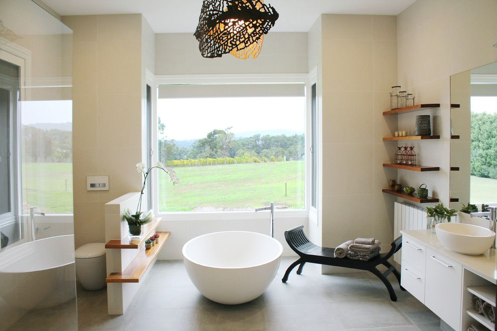 Inspired freestanding bathtub in Bathroom Contemporary with Toilet ...