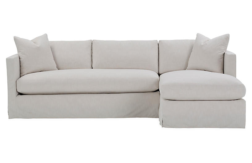 Shaw Right Bench Seat Sectional Ivory Crypton One Kings Lane