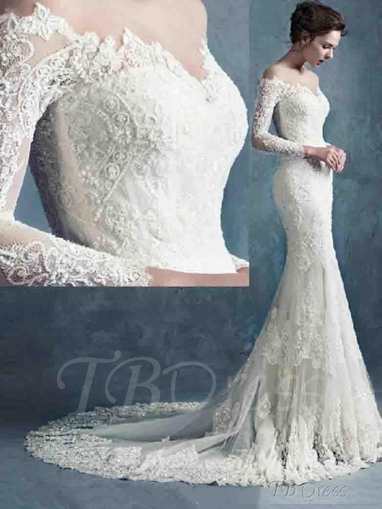 Sheer neck long sleeves lace wedding dress lace mermaid mermaid