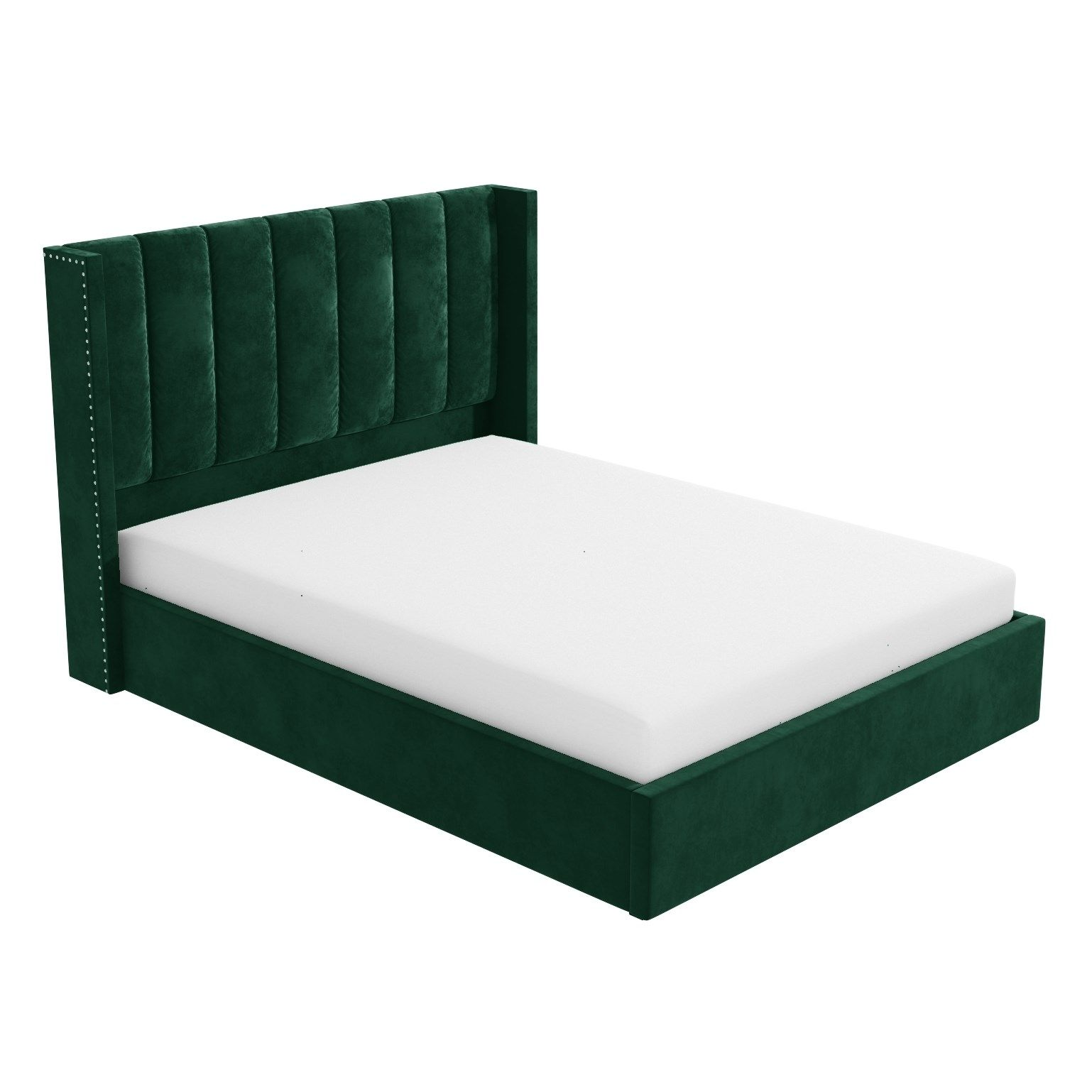 Best Maddox Wing Back King Size Ottoman Bed In Green Velvet 400 x 300