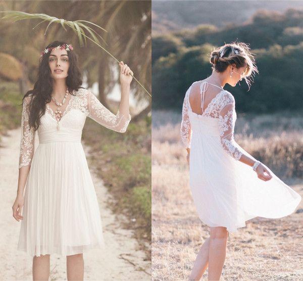 White Ivory Short Bridesmaid Dresses V Neck 3 4 Long Sleeves Lace Chiffon Knee Length Boho Beach Wedding As Low 69 65