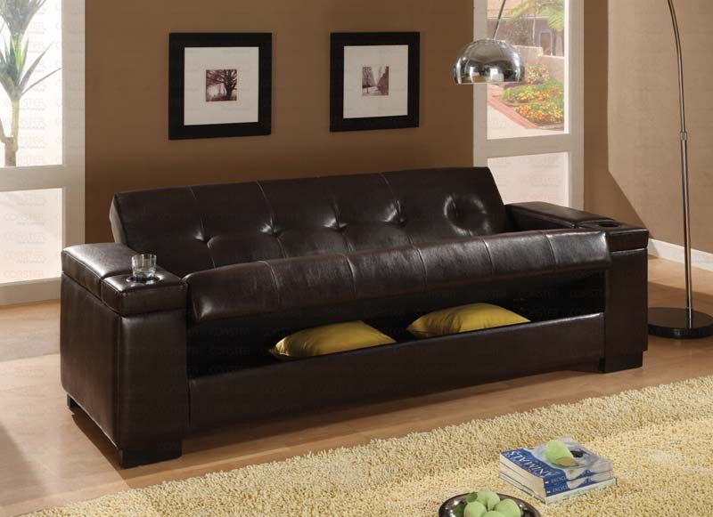 Dark Brown Pu 300143 Sofa Bed By Coaster Leather Futon