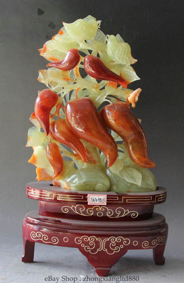 "16"" China natural Xiu Jade Two Bird pied magpie cayenne paprika capsicum Statue"
